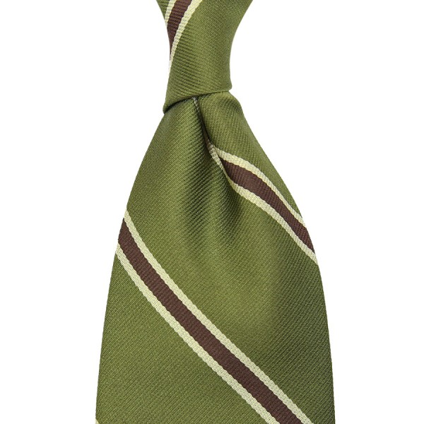 Repp Stripe Silk Tie - Olive / Brown - Handrolled