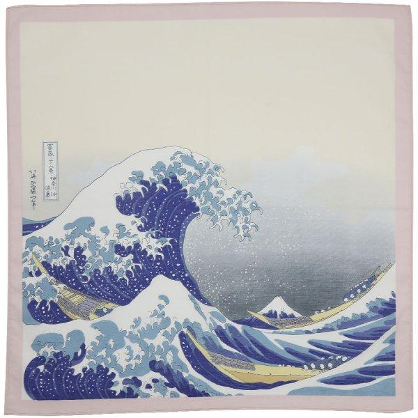Ukiyo-e Motif Cotton Handkerchief - Pink / Blue