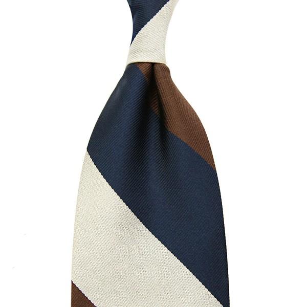 Triple Block Stripe Silk Tie - Navy / Brown / Ivory - Hand-Rolled