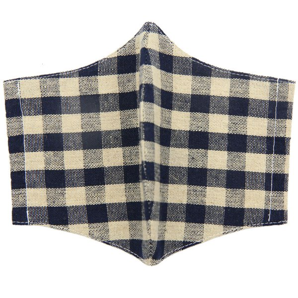 Checked Washable Cotton Mask - Beige / Navy