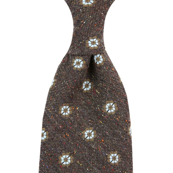 Floral Donegal Silk / Wool Tie - Chocolate - Handrolled