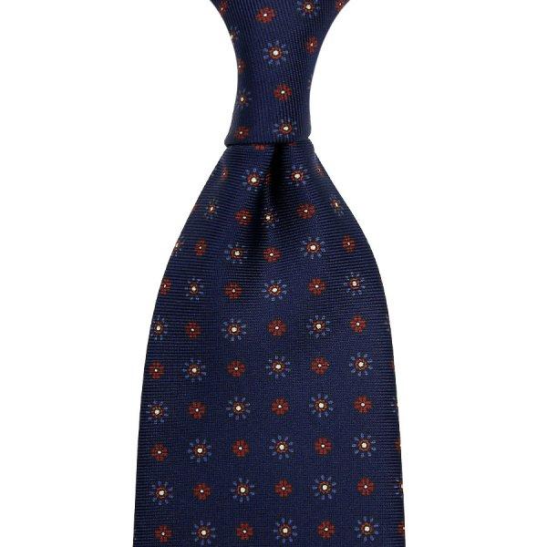 Floral Printed Silk Tie - Navy - Hand-Rolled
