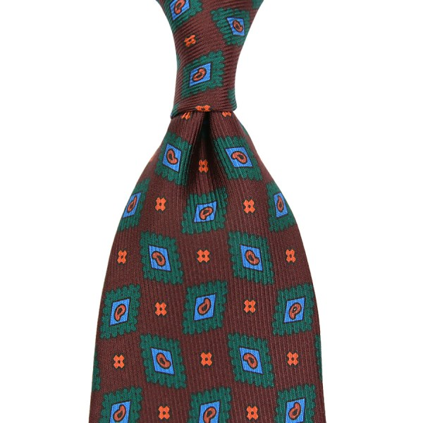Ancient Madder Silk Tie - Brown II - Hand-Rolled