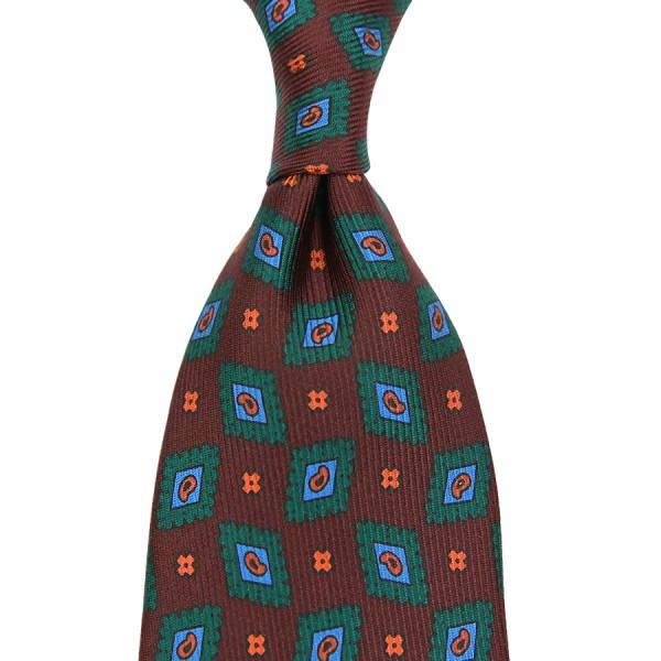 Ancient Madder Silk Tie - Brown II - Handrolled