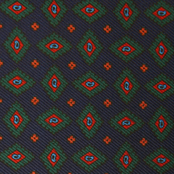 Ancient Madder Silk Bespoke Tie - Navy V