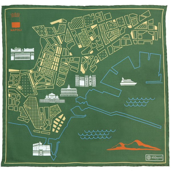 Naples Map Silk Pocket Square - Olive - 40x40cm