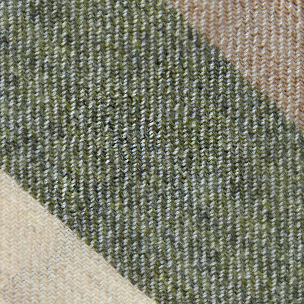 Triple Stripe Pure Cashmere Bespoke Tie - Beige / Moss / Cream