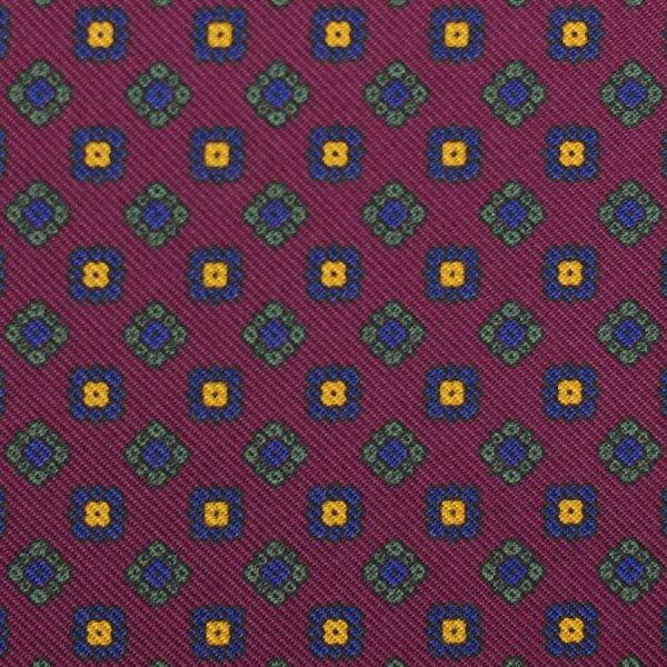 Floral Printed Silk Bespoke Tie - Burgundy I