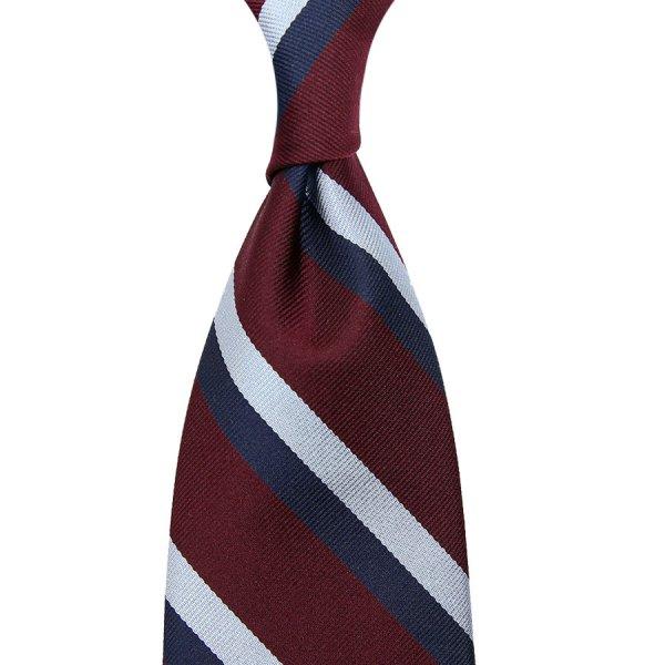Repp Striped Silk Tie - Navy / Burgundy / Sky - Hand-Rolled