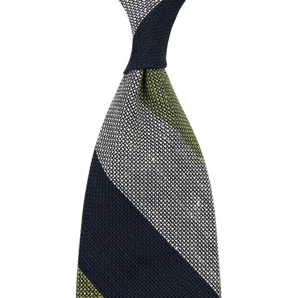 Triple Block Stripe Grenadine Linen / Silk Tie - Navy / White / Olive