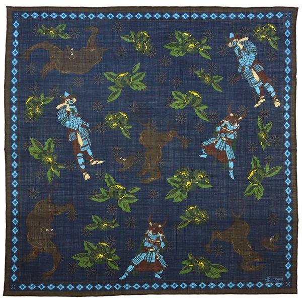Samurai Motif Wool / Silk Neckerchief - Navy - 60 x 60cm