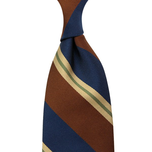 Repp Stripe Silk Tie - Navy / Brown / Beige - Hand-Rolled