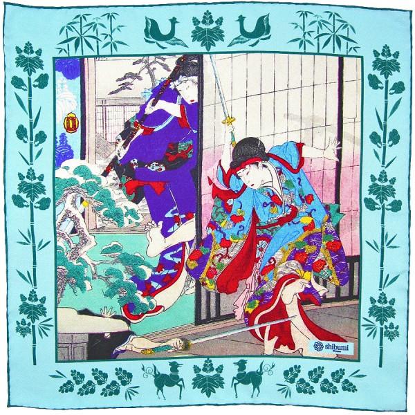 Ukiyo-e Silk Pocket Square - Otachimawari - Handrolled - 40 x 40cm