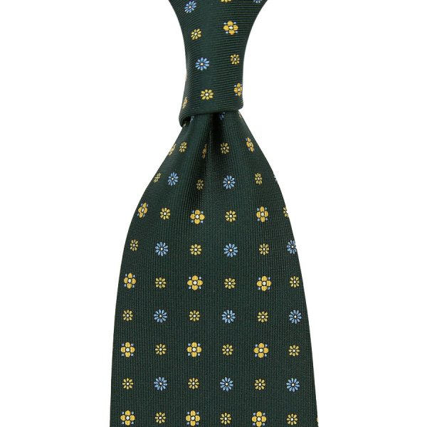 Floral Printed Silk Tie - Madder Green V - Hand-Rolled