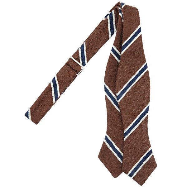 Repp Stripe Shantung Silk Bow Tie - Copper / Navy