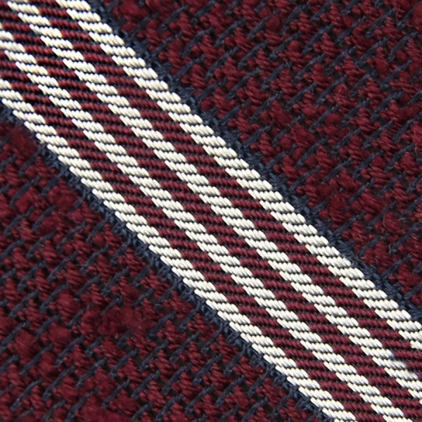 Striped Grenadine Shantung Bespoke Tie - Burgundy