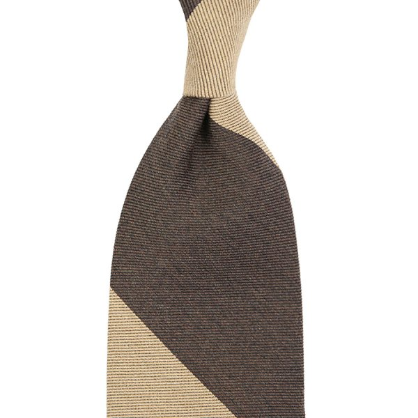 Block Stripe Wool Tie - Beige / Brown - Handrolled - 160cm
