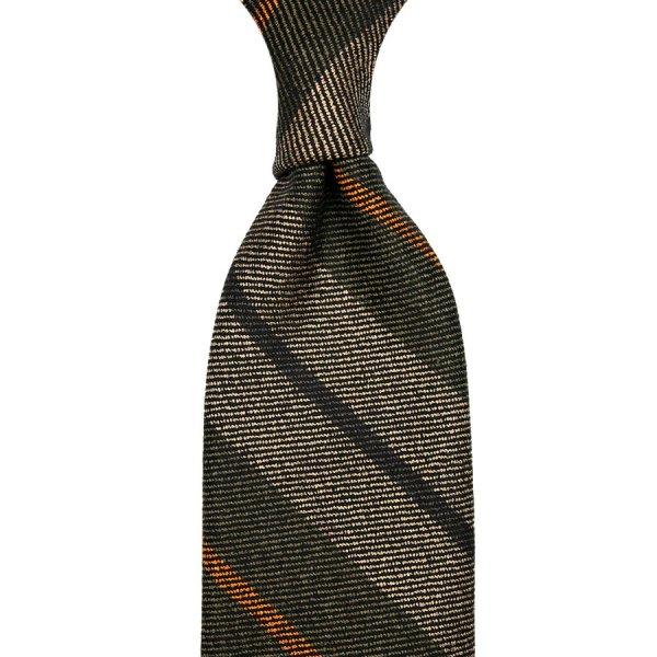 Striped Wool / Silk Tie - Olive / Beige - Hand-Rolled