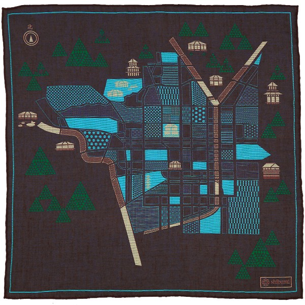 Kyoto Map Cotton Blend Pocket Square - Chocolate - 40 x 40cm
