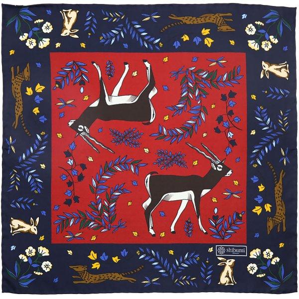 Animal Motif Silk Pocket Square - Navy / Cherry - 40x40cm
