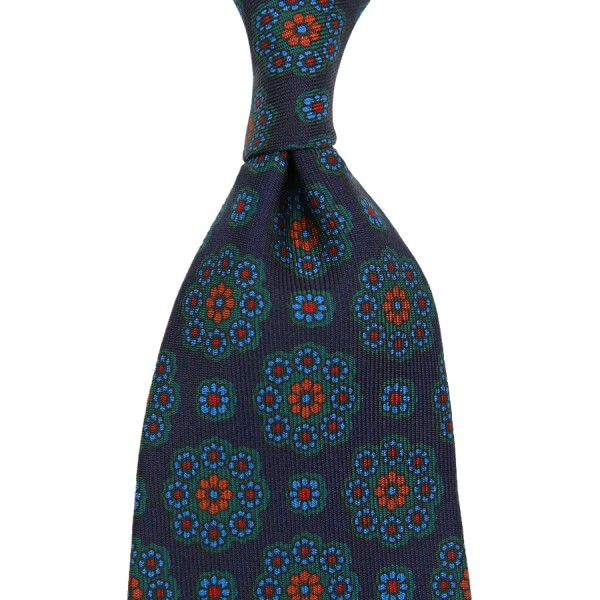 Ancient Madder Silk Tie - Navy VI - Hand-Rolled