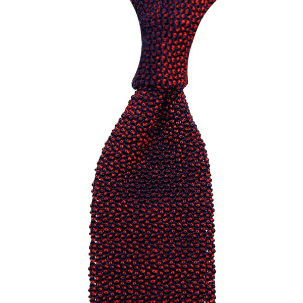 Crunchy Silk Knit Tie - Cherry / Navy Mottled