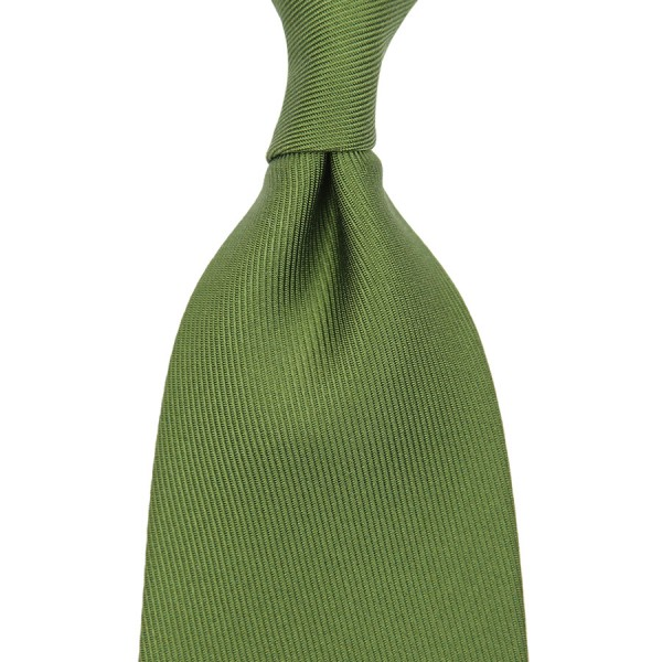 50oz Plain Dyed Silk Tie - Olive - Handrolled
