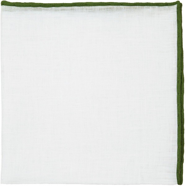 Irish Linen Shoestring Pocket Square - White / Olive