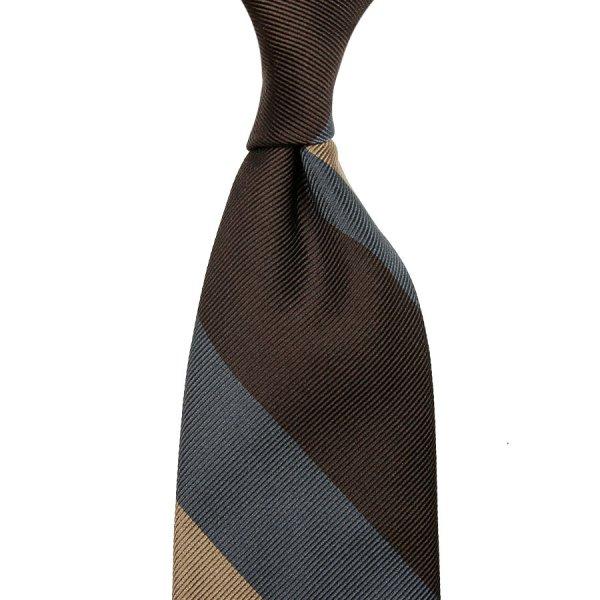 Super Repp Stripe Silk Tie - Brown / Petrol / Beige - Hand-Rolled