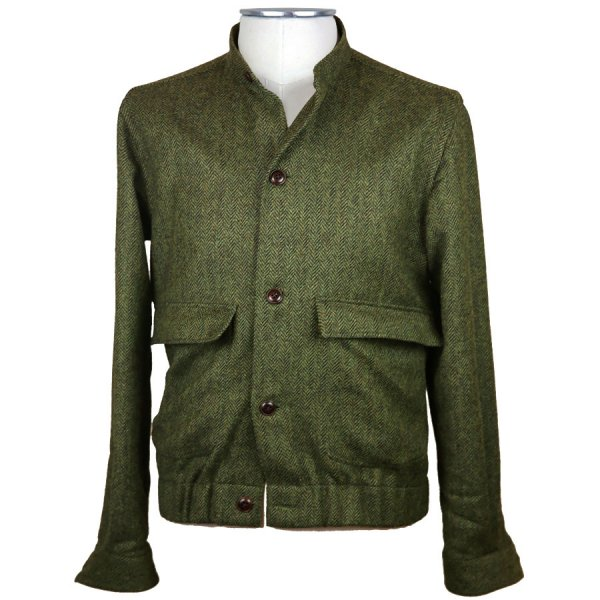 Harris Tweed Bomber Jacket - Green Herringbone - Holland & Sherry
