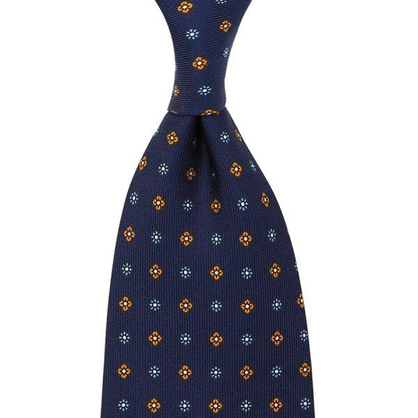 Floral Printed Silk Tie - Navy VI - Handrolled