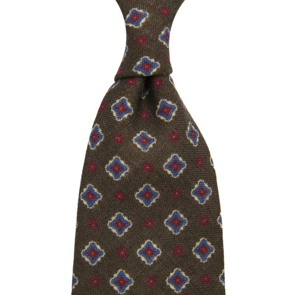Floral Printed Wool Tie - Brown - Hand-Rolled