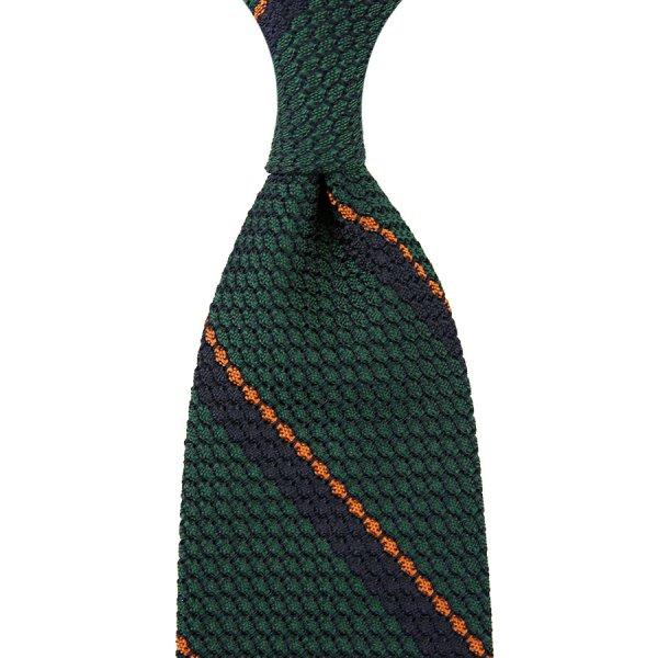 Striped Grenadine / Garza Grossa Silk Tie - Forest / Navy / Orange