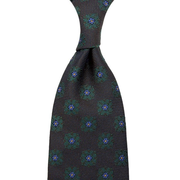 Floral Silk Tie - Chocolate / Forest - Hand-Rolled