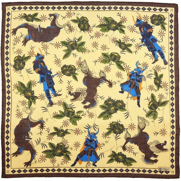 Samurai Motif Wool / Silk Neckerchief - Cream - 60 x 60cm
