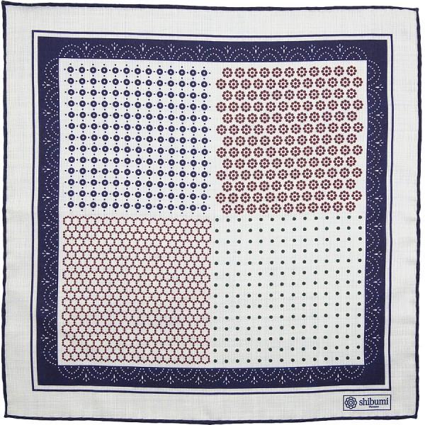 Geometrical Wool / Silk Pocket Square - White