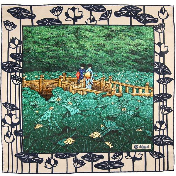 Ukiyo-e Silk Pocket Square - Hasu Ike - 40x40cm