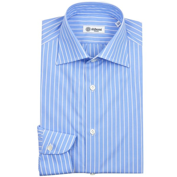 Poplin Semi Spread Shirt - Sky / White - Banker Stripe - Regular Fit