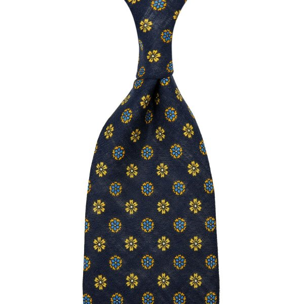 Floral Printed Linen Tie - Navy - Hand-Rolled