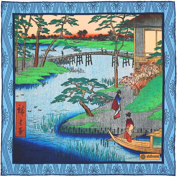 Ukiyo-e Silk Pocket Square - Nagare - Handrolled - 40 x 40cm