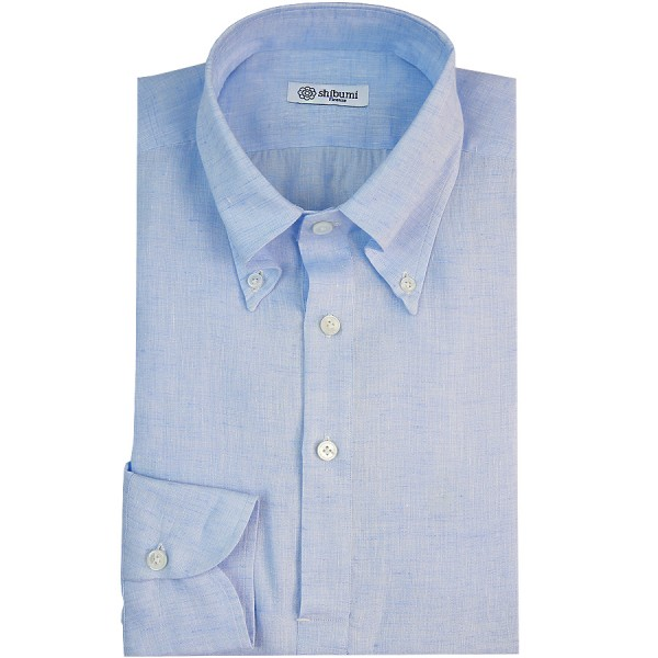 Long Sleeved Polo Shirt - Button Down - Sky Blue - Linen - Regular Fit