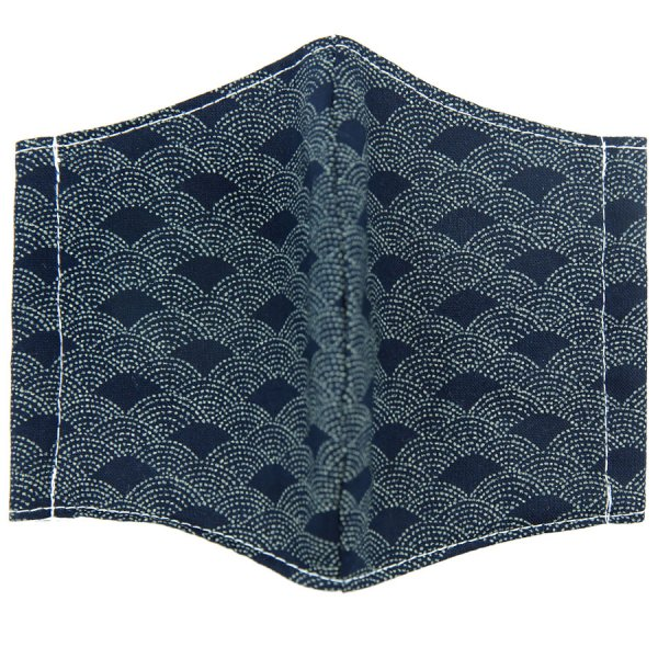 Kimono Motif Washable Cotton Mask - Navy VII