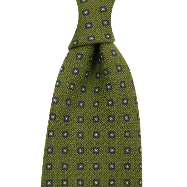 Floral Printed Grenadine Tie - Wool / Cashmere / Silk - Olive