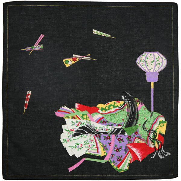 Ukiyo-e Motif Cotton Handkerchief - Black