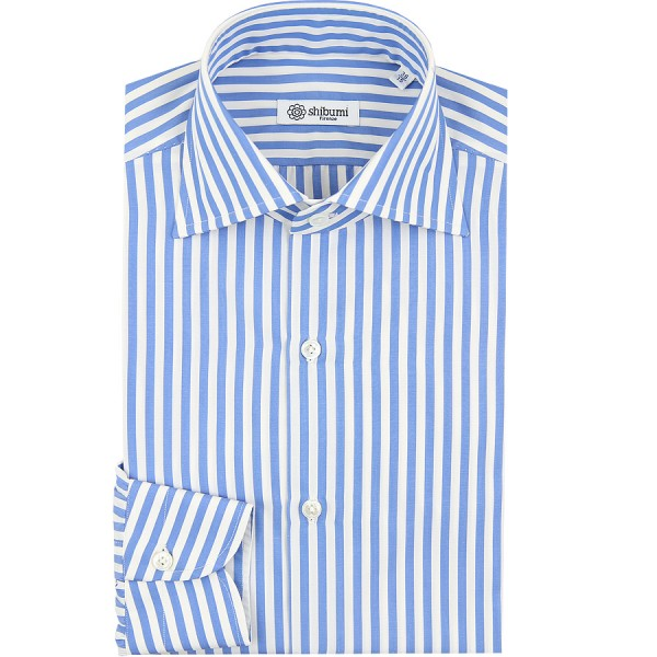 Poplin Semi Spread Shirt - White / Blue - Butcher Stripe