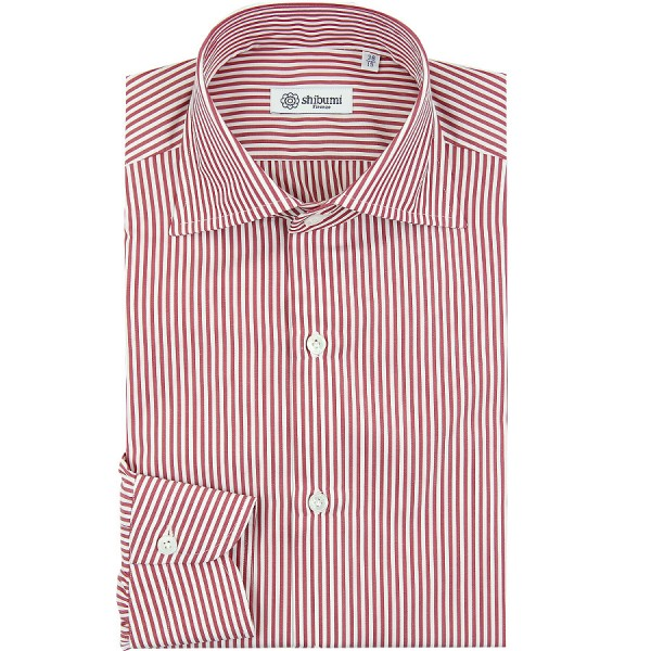 Poplin Semi Spread Shirt - White / Red - Bengal Stripe - Regular Fit
