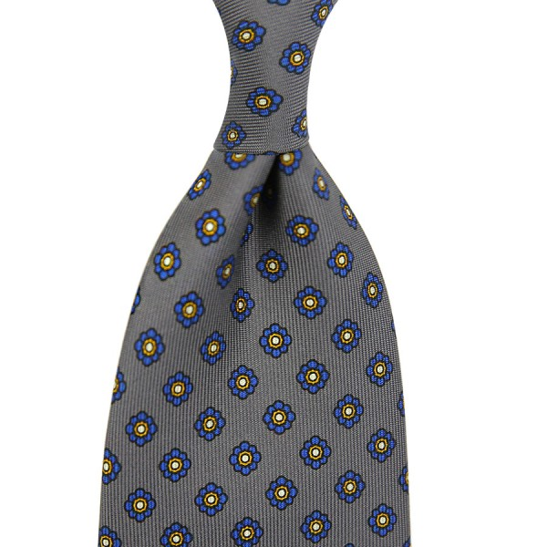 Shibumi-Flower Printed Silk Tie - Grey - Handrolled