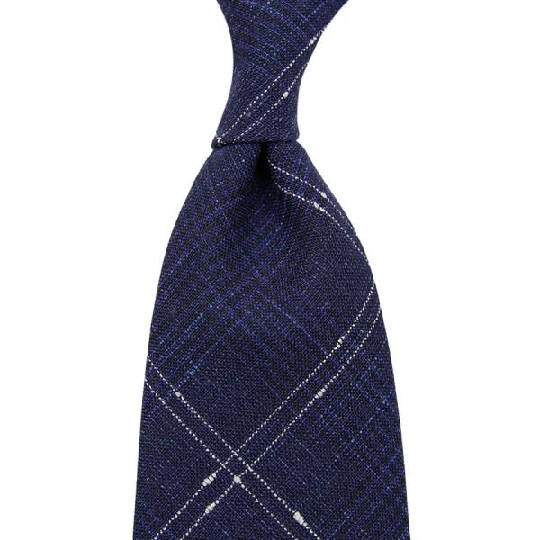 Loro Piana Checked Wool / Linen / Silk Tie - Navy - Hand-Rolled