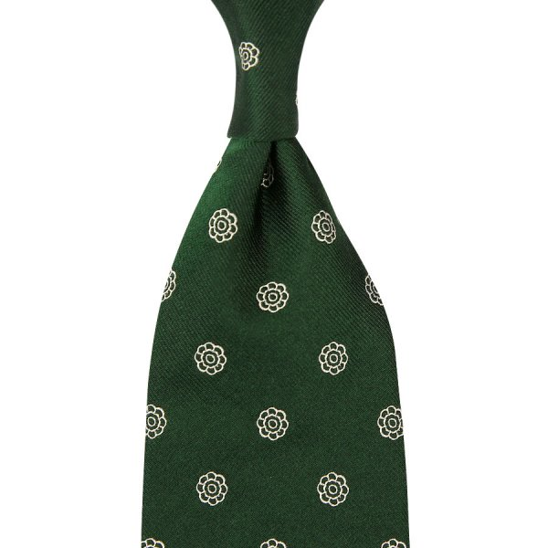 Shibumi-Flower Jacquard Silk Tie - Forest - Hand-Rolled