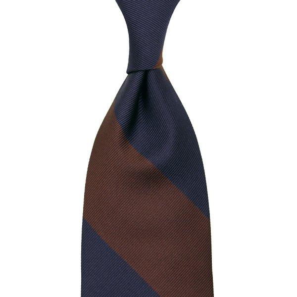 Block Stripe Silk Tie - Navy / Brown - Hand-Rolled